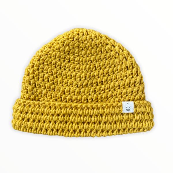 Amanzi Clothing Lite Turn Up Handmade Hat folded mustard