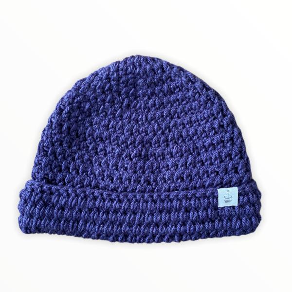 Amanzi Clothing Lite Turn Up Handmade Hat Aubergine Folded