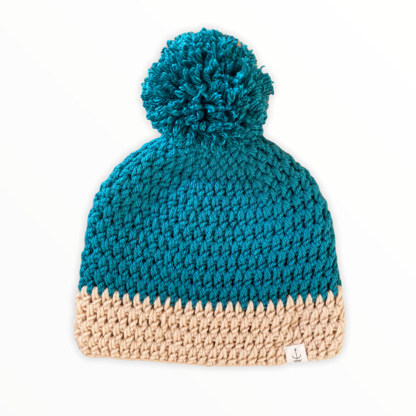 Amanzi Clothing The bobble hat Teal and Oat